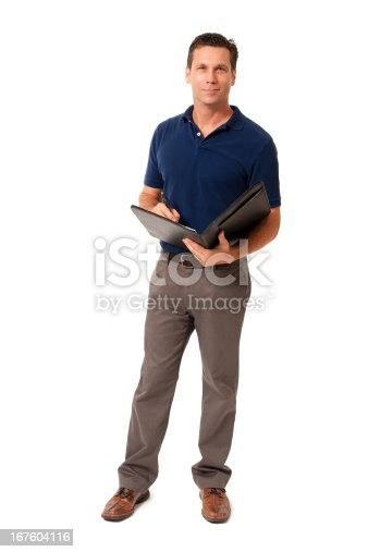 istock Causal Businessman with Folio Isolated on White Background 167604116
