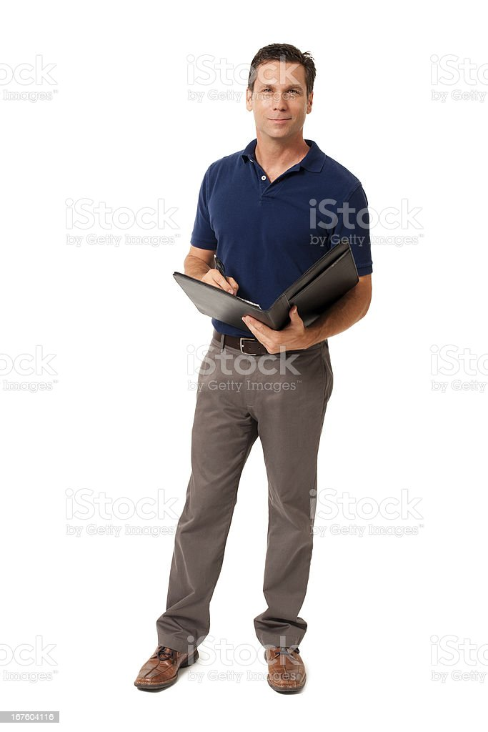 Causal Businessman with Folio Isolated on White Background stock photo