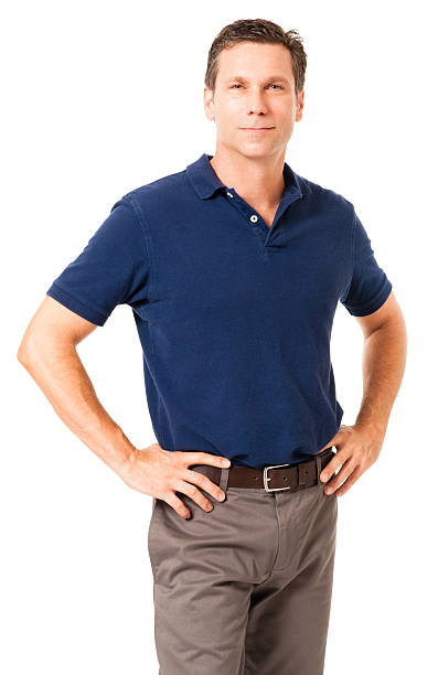 Causal Businessman with hands on hips on White stock photo