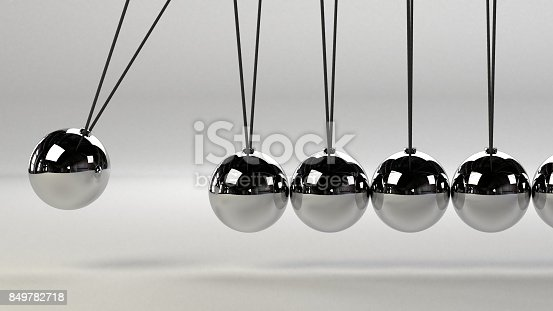 921145928 istock photo cause and effect concept, metal Newton's cradle on a white background 849782718
