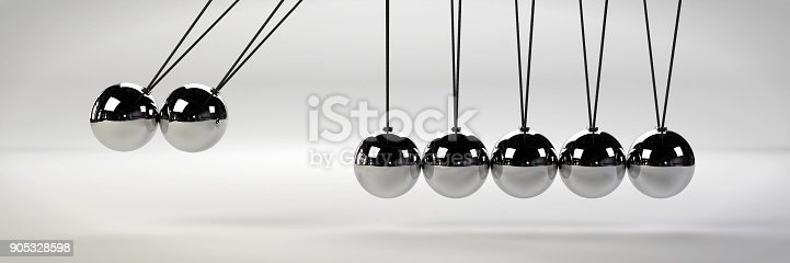 921145928 istock photo cause and effect concept, metal Newton's cradle with two balls in motion on a white background (3d illustration banner) 905328598