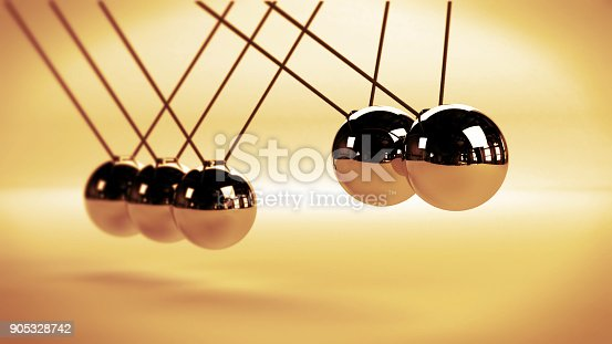 921145928 istock photo cause and effect concept, steel Newton's cradle on a white background (vintage 3d illustration) 905328742