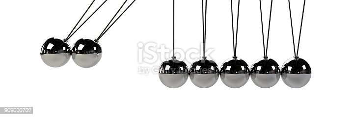 921145928 istock photo cause and effect concept, steel Newton's cradle (3d illustration isolated on white background) 909000702
