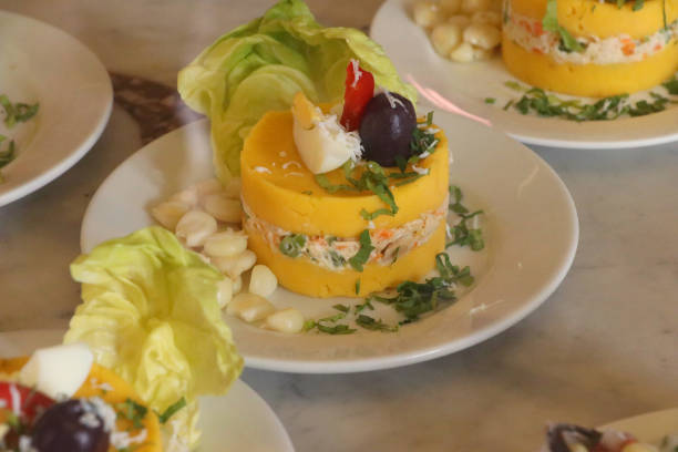 cause of Lima - causa limeña cause of Lima peruvian culture stock pictures, royalty-free photos & images