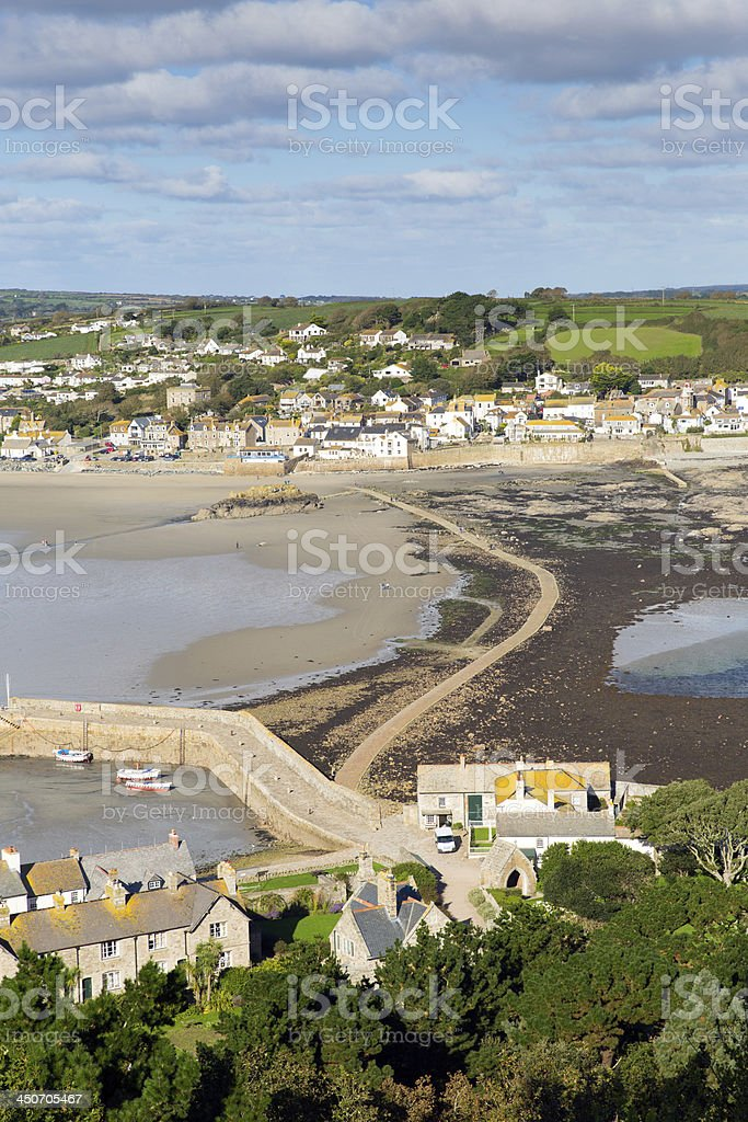 Causeway between St Michaels Mount and Marazion Cornwall stock photo