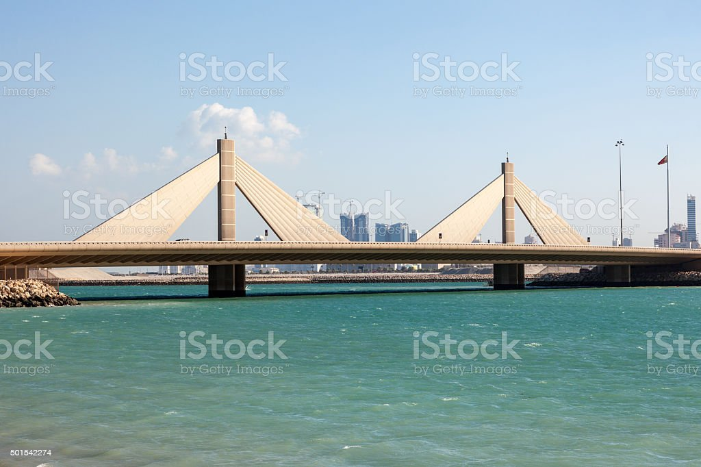 Causeway Bridge in Manama, Kingdom of Bahrain stock photo