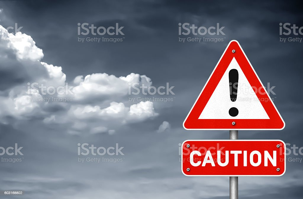Caution attention please road sign warning stock photo