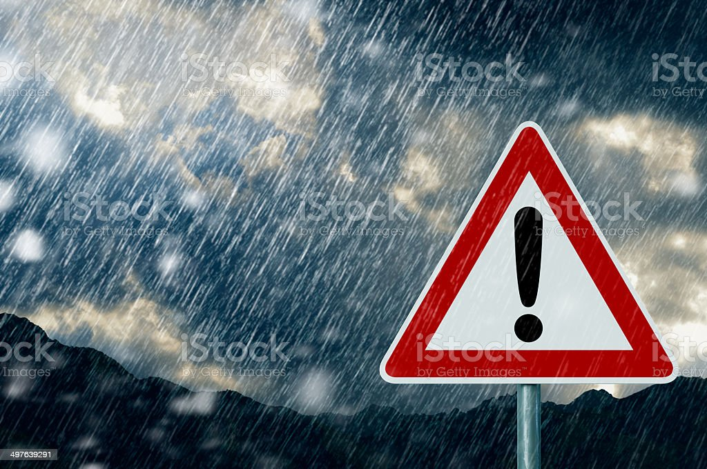 Caution - bad weather stock photo