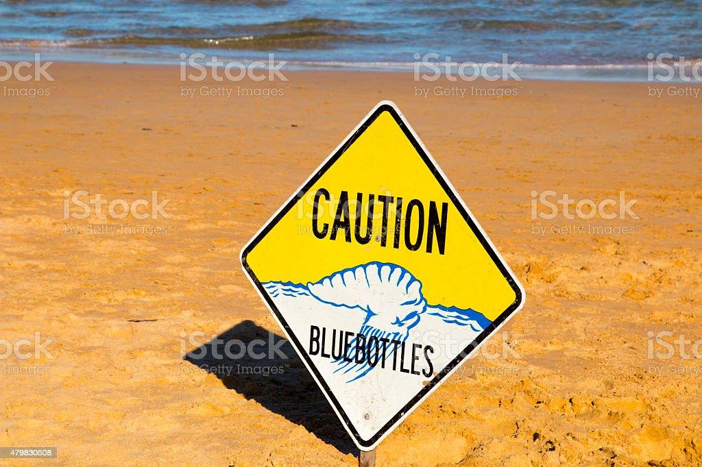 Caution Bluebottles Sign on Sydney Beach stock photo