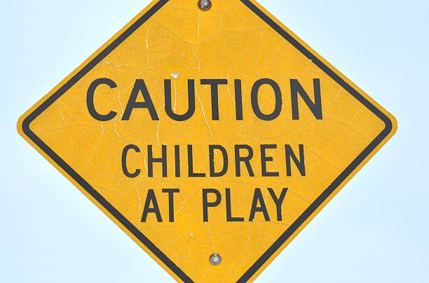 Caution Children At Play stock photo