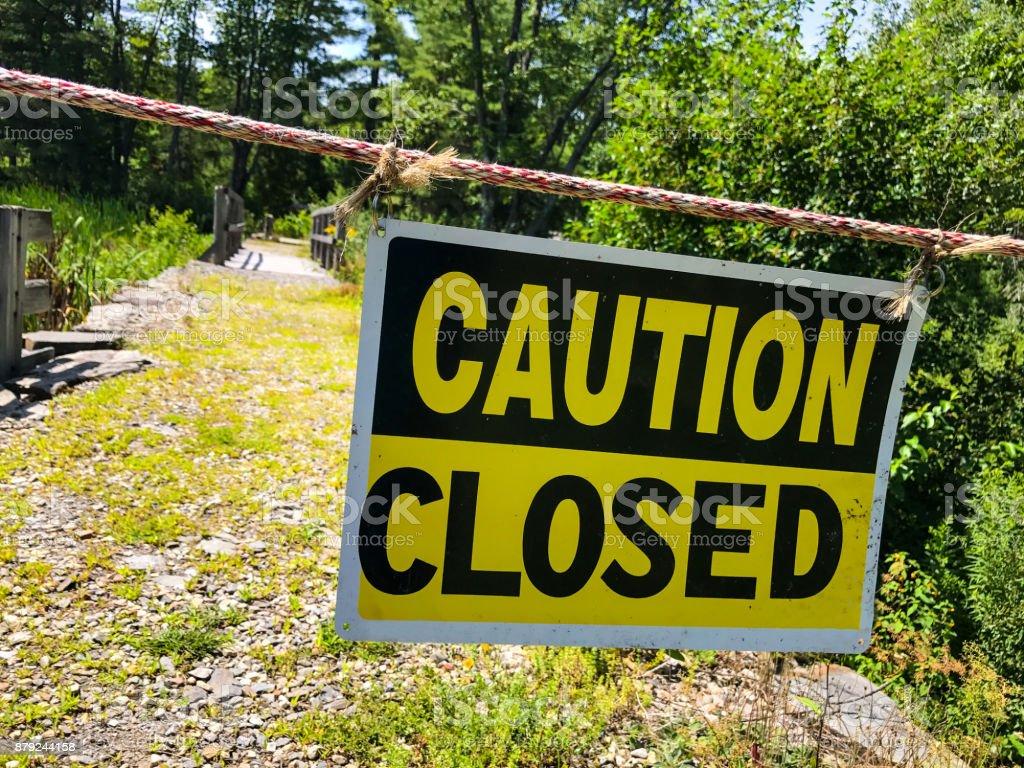 Caution Closed - Warning Signage stock photo