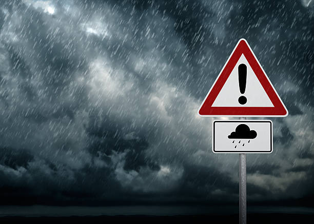 Caution - Heavy Rain stock photo