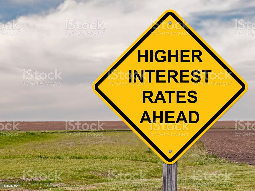 Caution - Higher Interest Rates Ahead stock photo