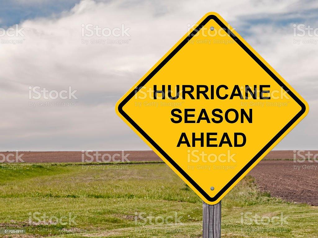 Caution - Hurricane Season Ahead Caution Sign - Hurricane Season Ahead Accidents and Disasters Stock Photo