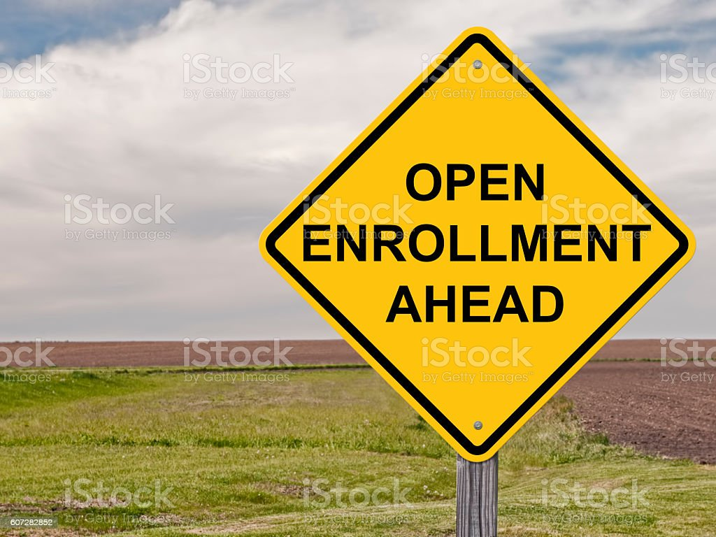 Caution - Open Enrollment Ahead stock photo