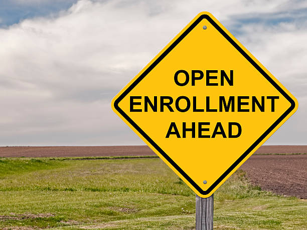 Caution - Open Enrollment Ahead stock photo