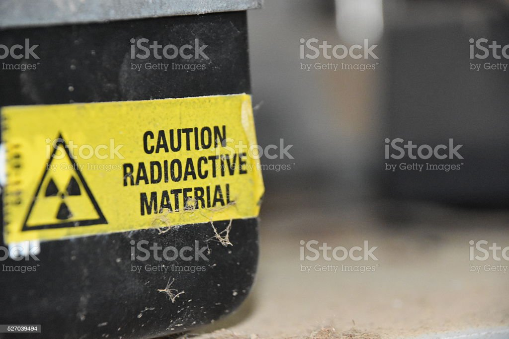 Caution Radioactive Material stock photo