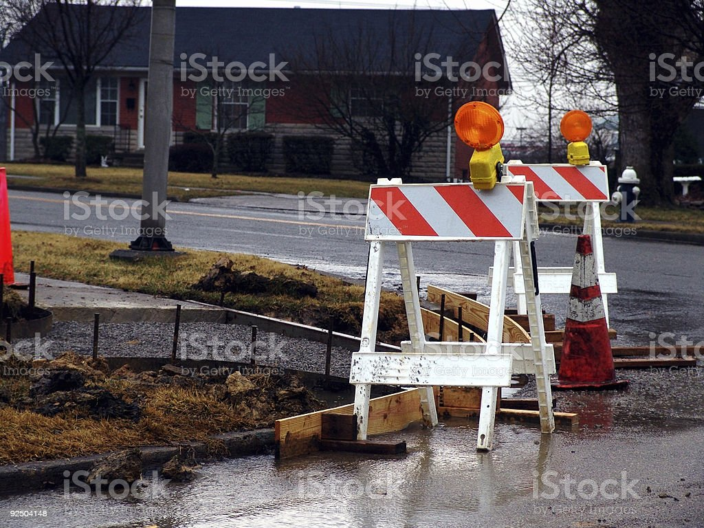 Caution, Road Construction royalty-free stock photo