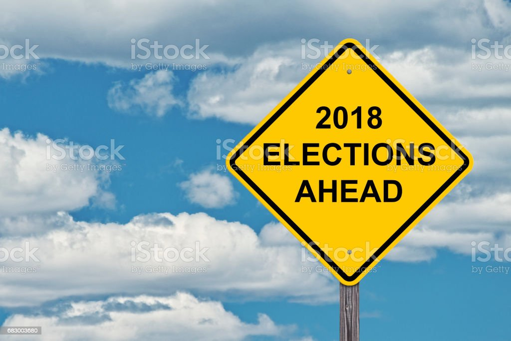 Caution Sign - 2018 Election Ahead royalty-free stock photo