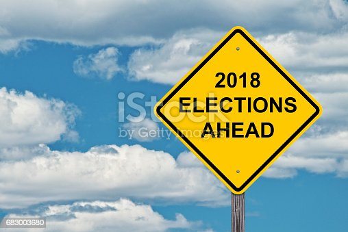 1157022917 istock photo Caution Sign - 2018 Election Ahead 683003680