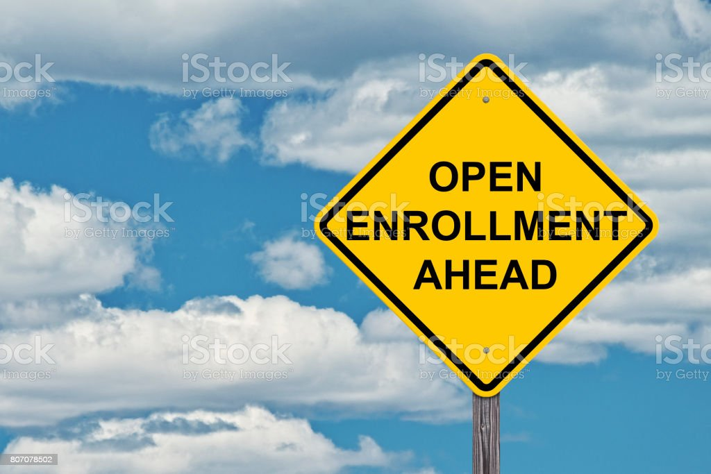 Caution Sign Blue Sky Background - Open Enrollment Ahead – zdjęcie