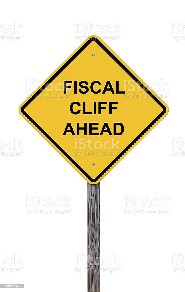 Caution Sign - Fiscal Cliff Ahead stock photo