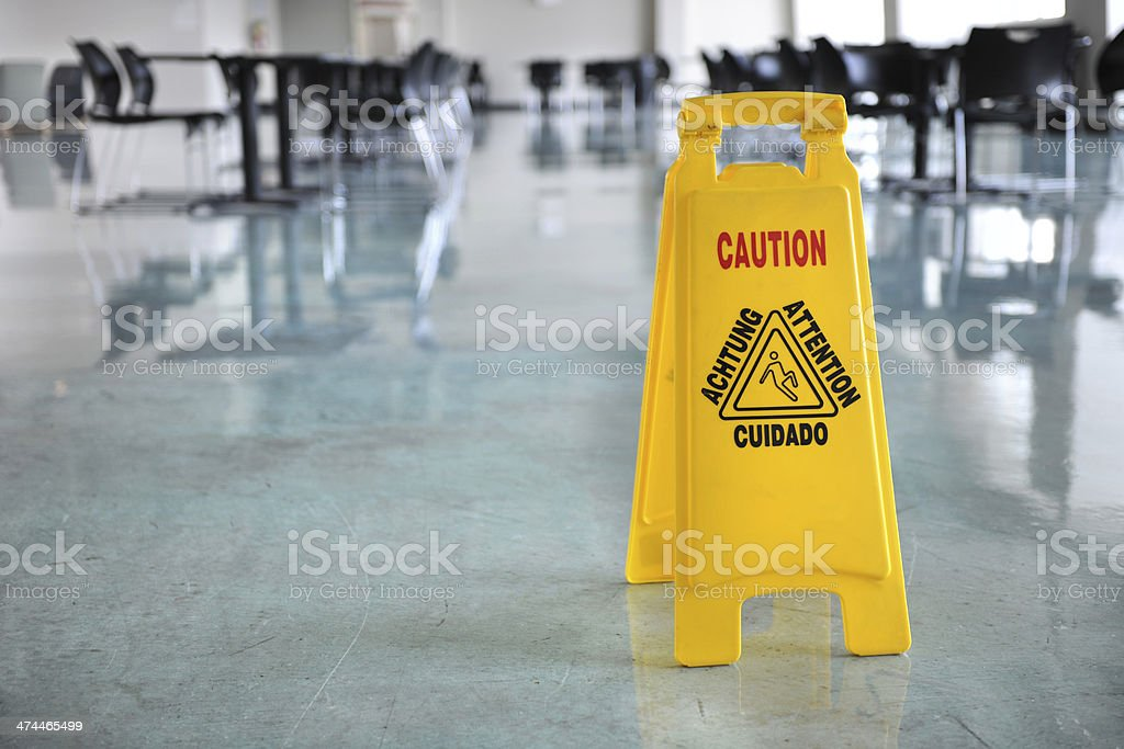 Caution Sign Inside Building stock photo