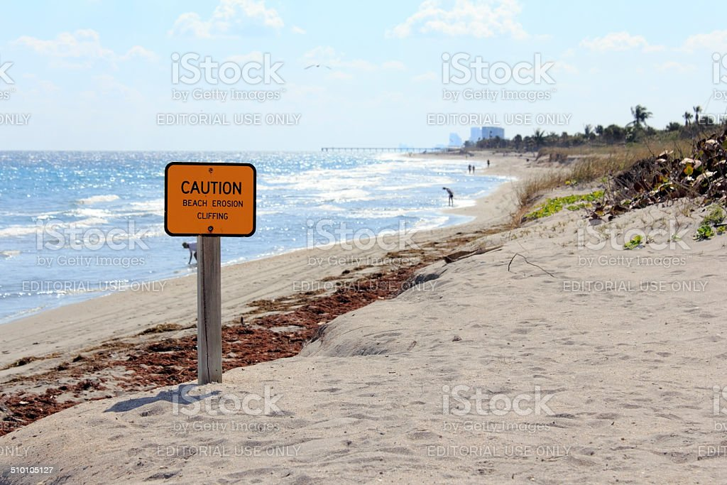 Caution Sign on Dania Beach stock photo