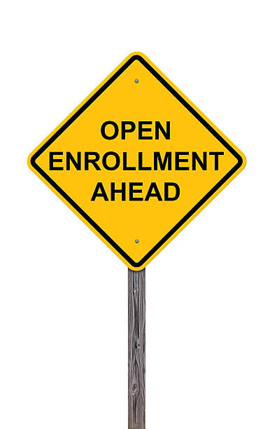 caution sign - open enrollment ahead - open enrollment stock photos and pictures