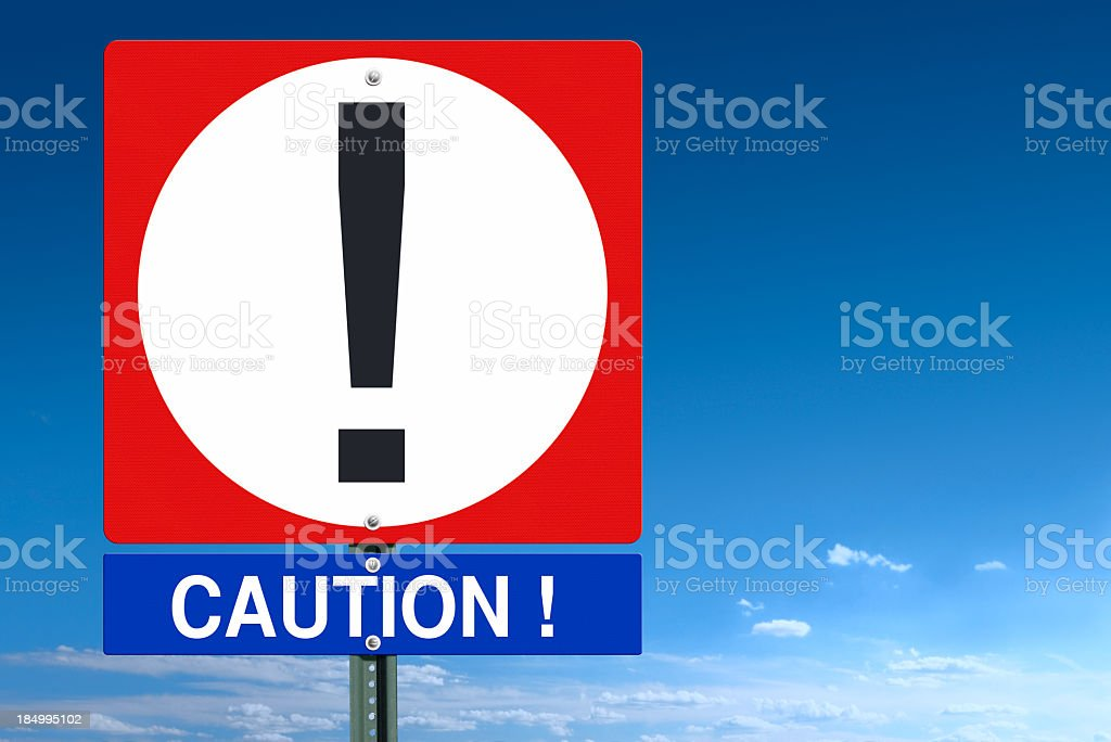 Caution Sign Post royalty-free stock photo