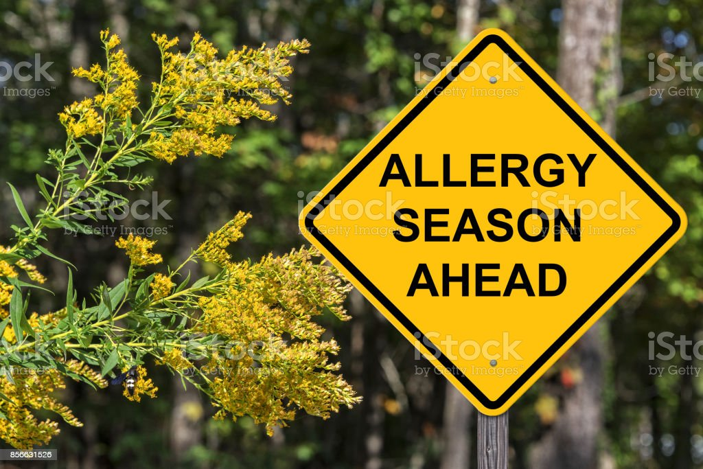 Caution Sign Warning About Upcoming Allergy Season stock photo