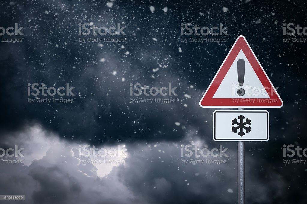 Caution - Snow stock photo