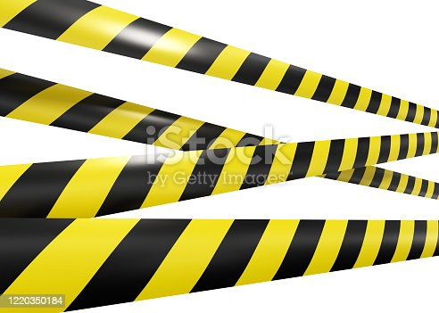 caution, tape, isolated on white background, 3d rendering