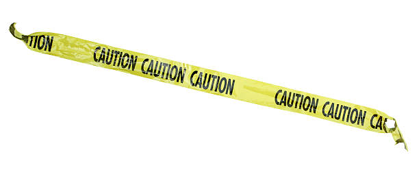 Caution tape 4+ feet of plastic caution tape torn on each end isolated on white. stealth stock pictures, royalty-free photos & images