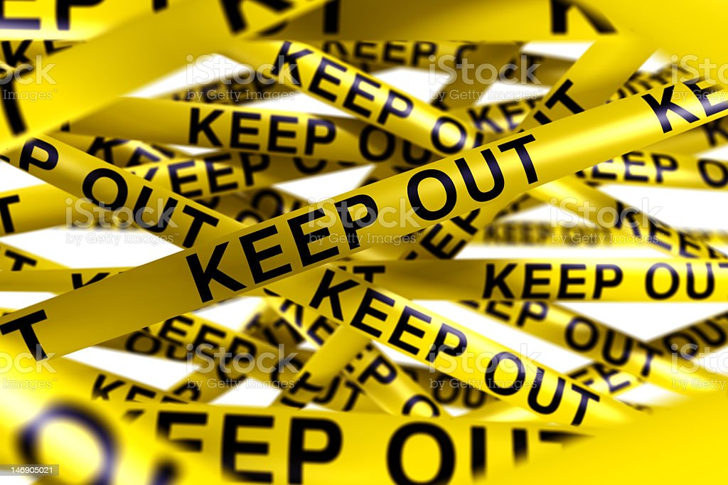 Caution tape with KEEP OUT on it stock photo