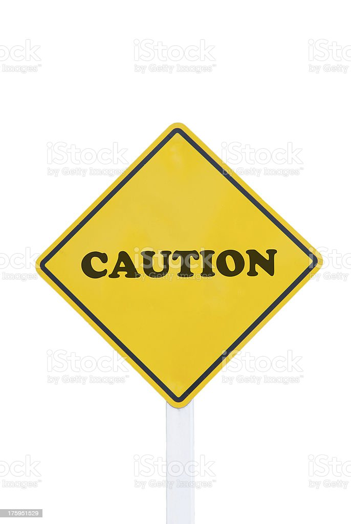 Caution traffic sign on white background royalty-free stock photo