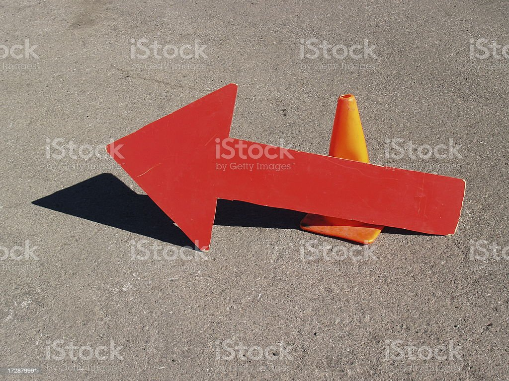 Caution - Turn Left stock photo