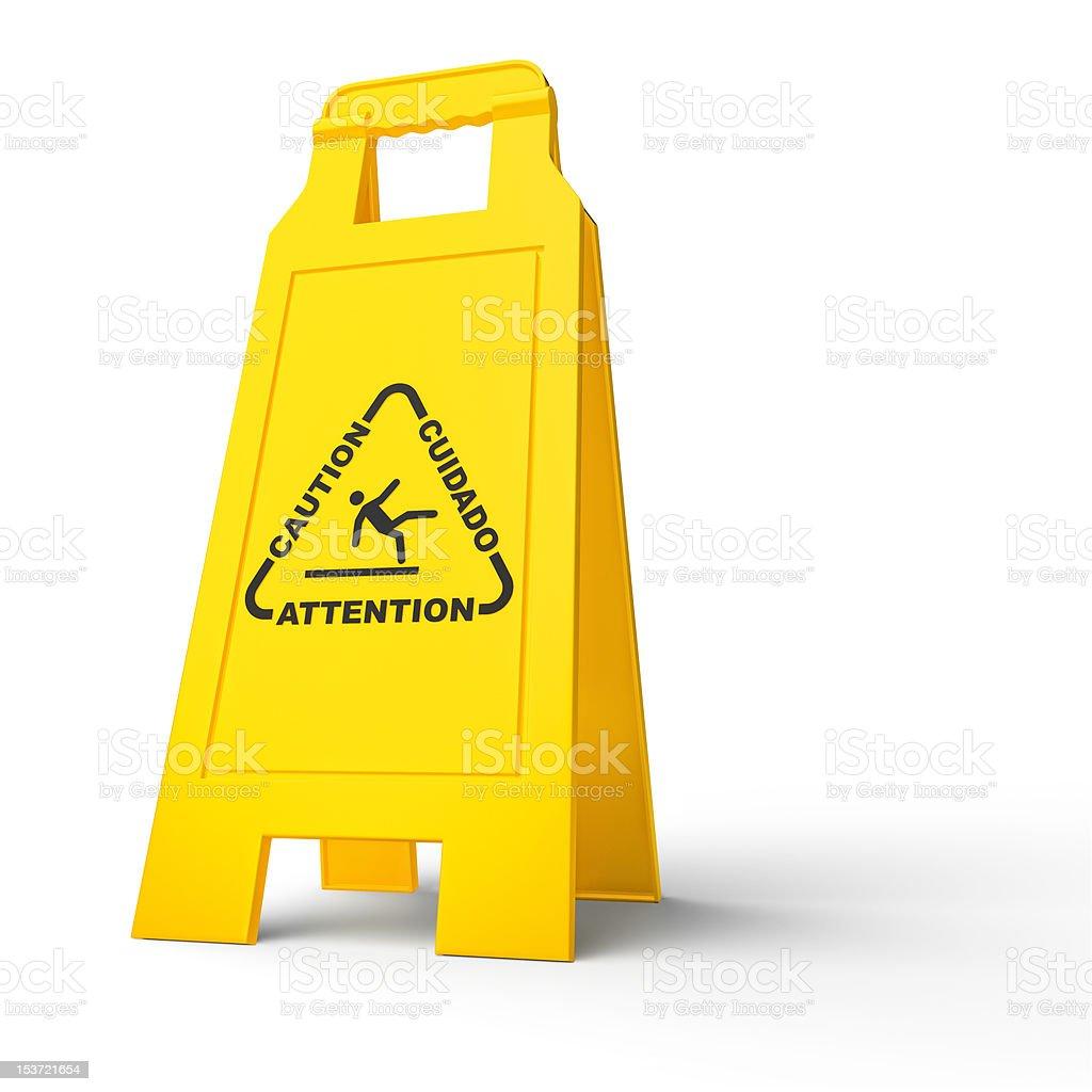 caution- wet floor stock photo