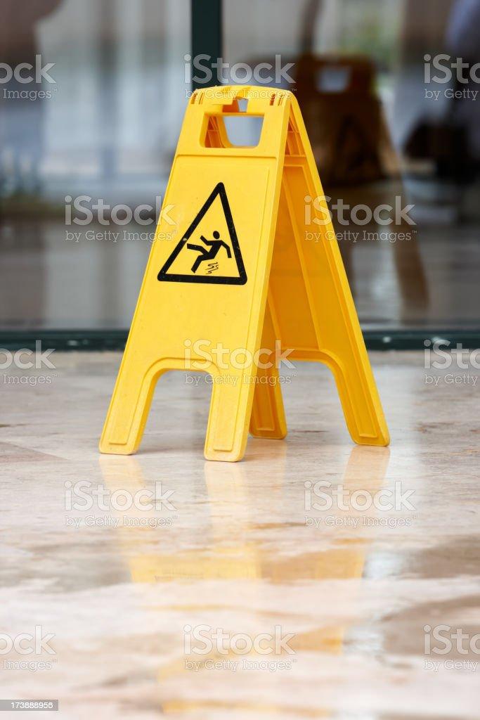 caution wet floor stock photo