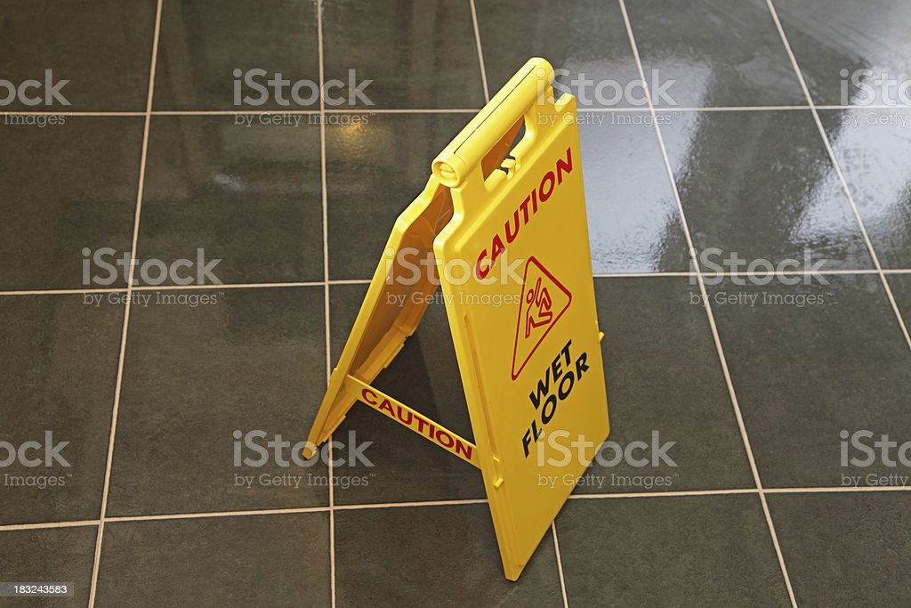 caution wet floor royalty-free stock photo