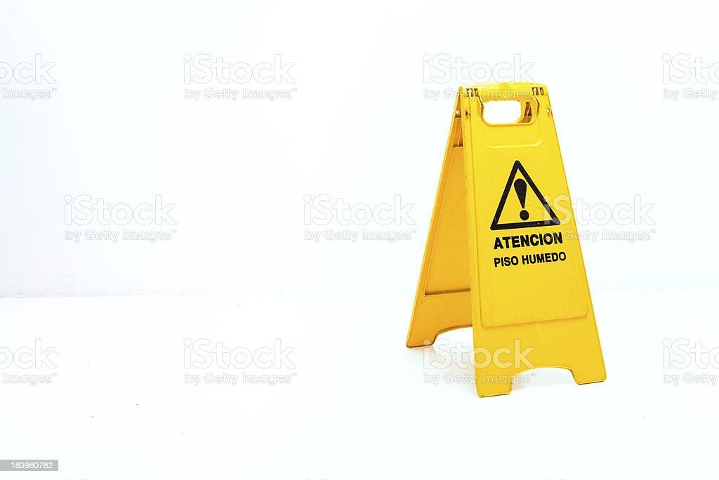 Caution: wet floor sign stock photo
