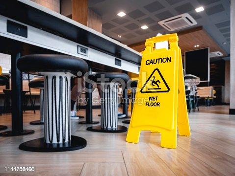 Caution Wet floor signage stand indoor Restaurant cafe Safety sign