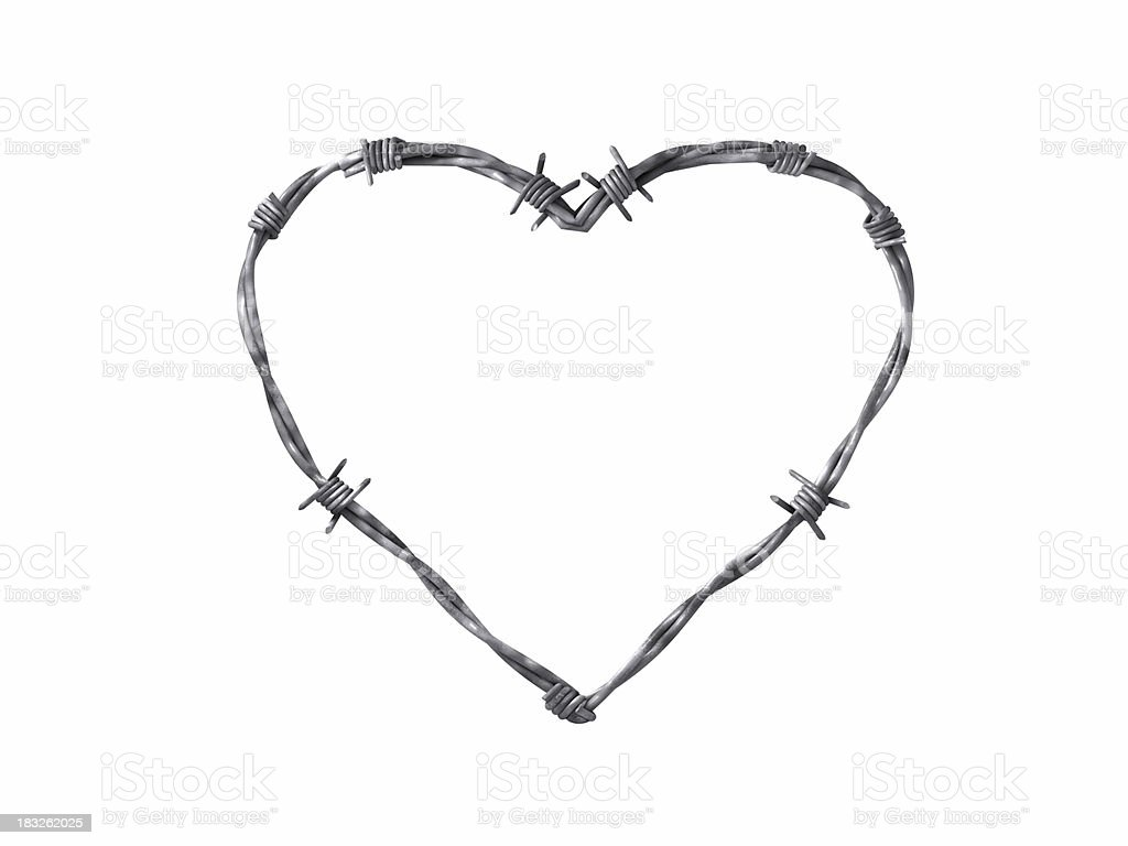 Cautious heart (barbed wire) royalty-free stock photo