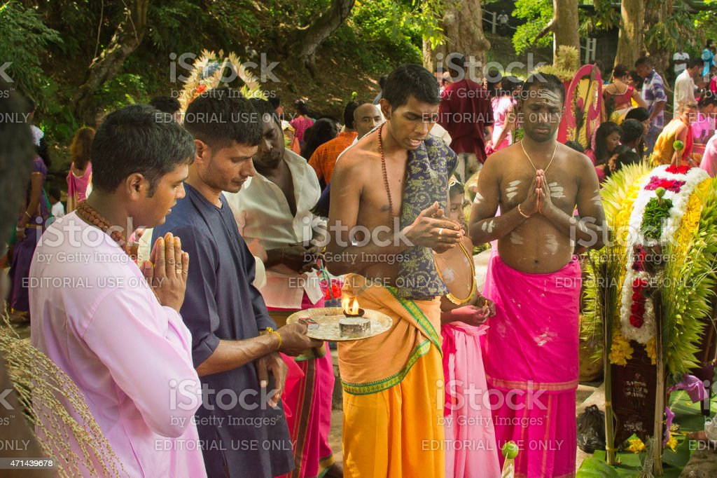 Cavadee festival in Mauritius stock photo