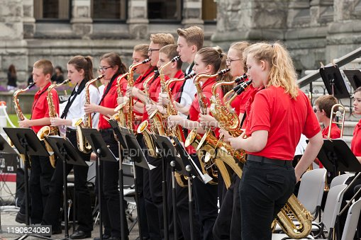 Victoria Canada May 22, 2019: Cavaliers Kingstone Middle School in Victoria Day Parade along Douglas Street. This is Victoria's largest parade and attracting well over 100,000 people from Canada and USA.