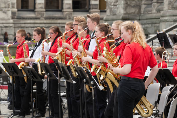 Cavaliers Kingstone Middle School in Victoria Day Parade stock photo