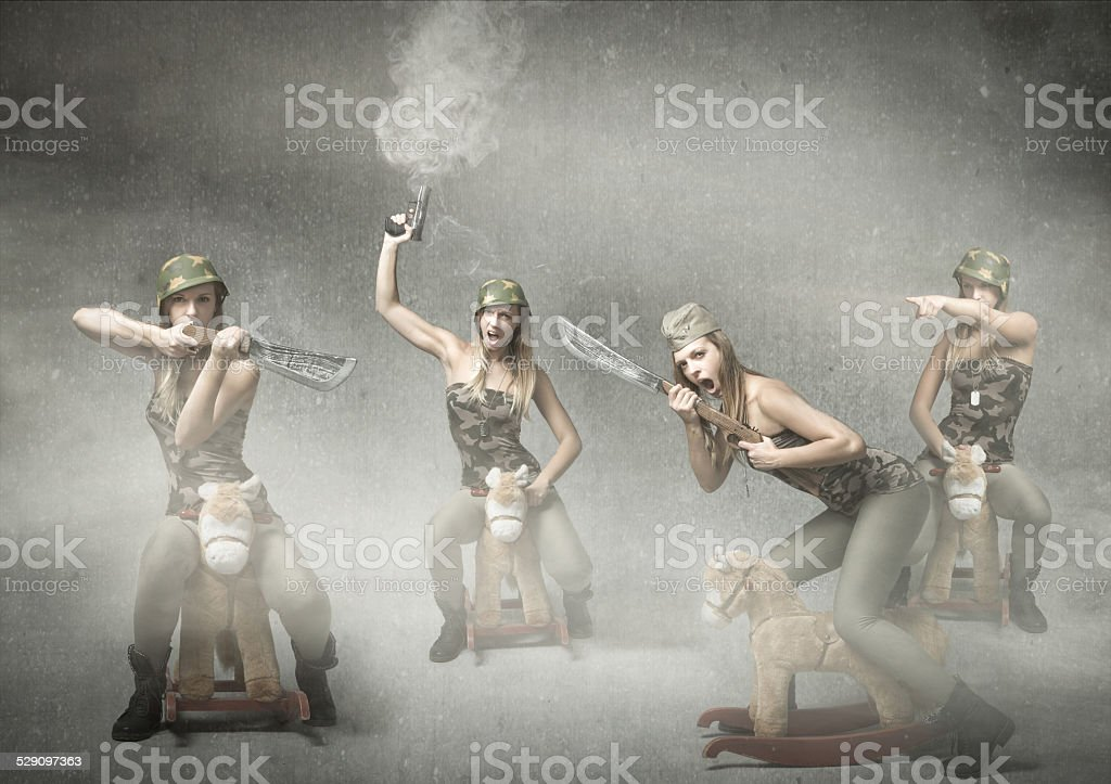 cavalry army in funny version stock photo