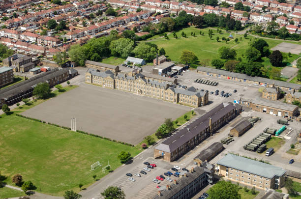 Cavalry Barracks, Hounslow - aerial view stock photo