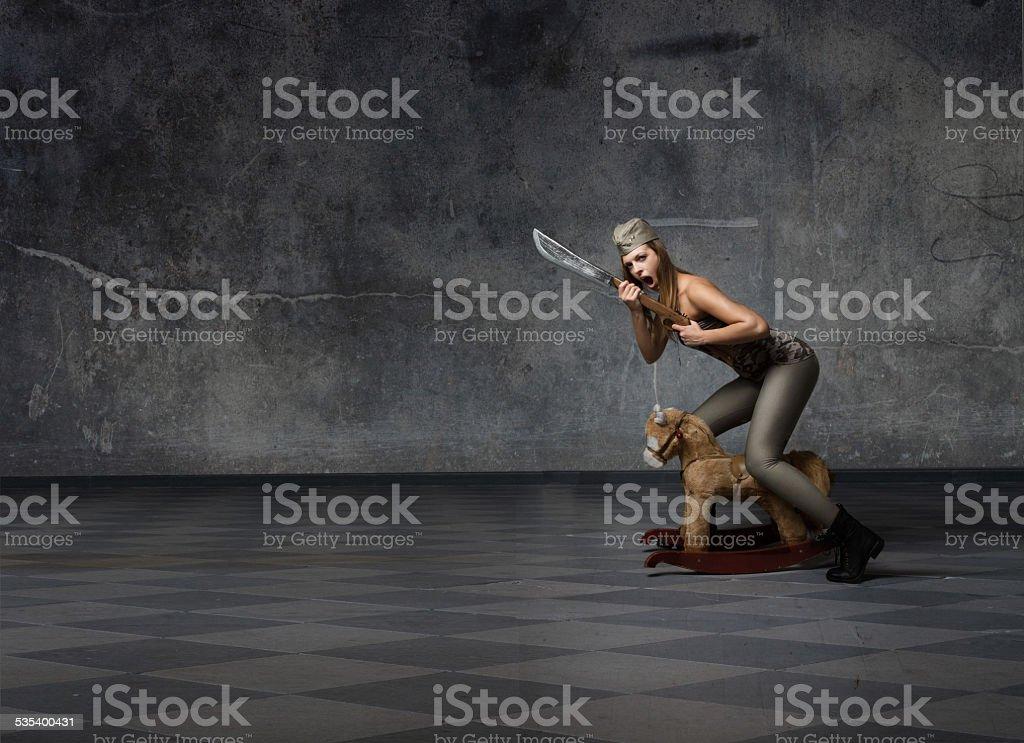 cavalry soldier attack stock photo