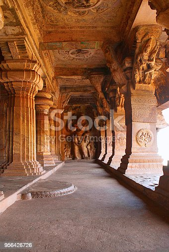 istock Cave 3 : Carved figure of Vishnu as Narasimha (half human, half lion). 956426726